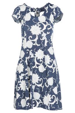 Robe en maille gomme imprimé de fleurs, Bleu