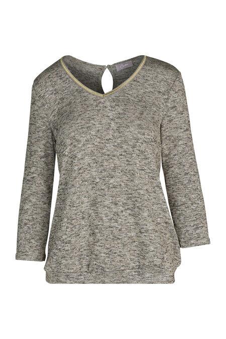 T-shirt in warm tricot met lurexgaren - Goud