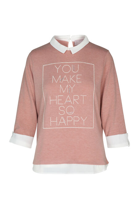Trui met de tekst 'You make my heart so happy' - Roze