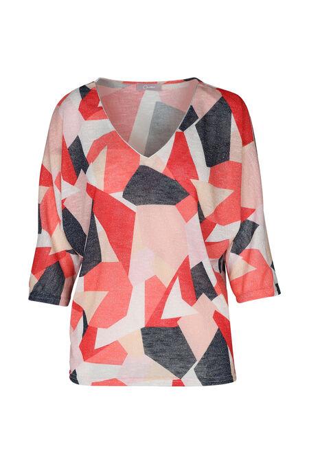 T-shirt lurex imprimé géométrique - Corail