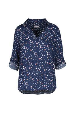 Tuniek met bloemetjes, Marineblauw
