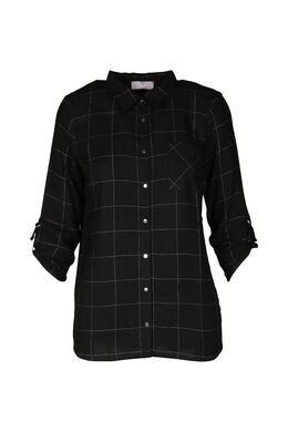 Ruitjeshemd met lurex, Zwart