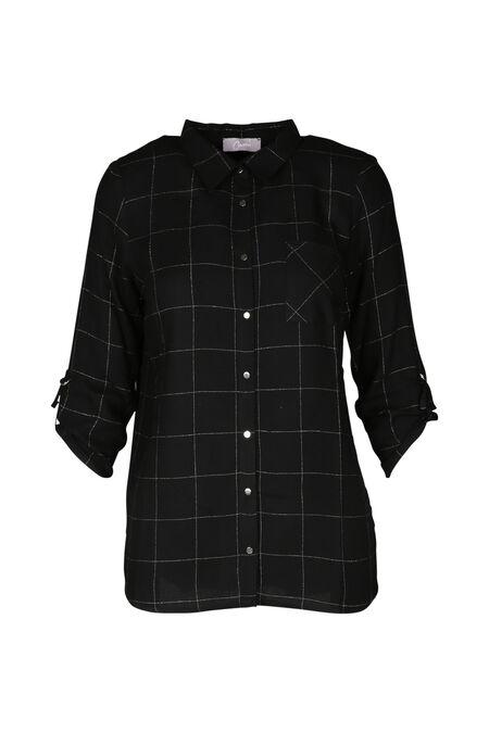 Ruitjeshemd met lurex - Zwart