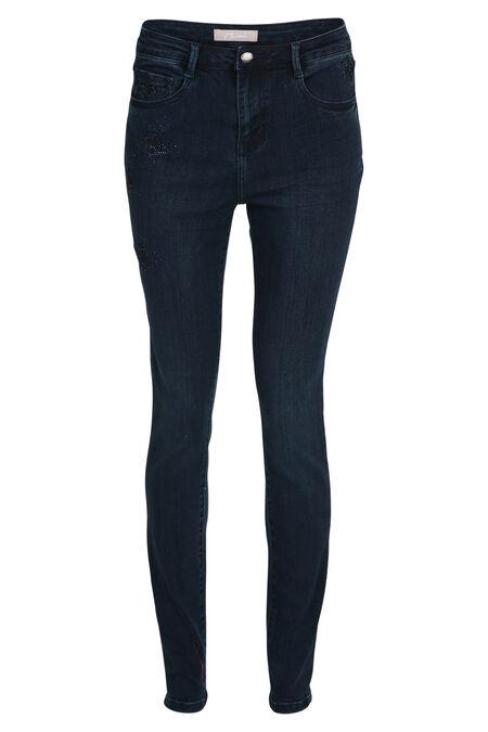 Slim jeans met strassteentjes - Donker denim