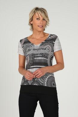 T-shirt met opdruk 'Be inspired', Zwart/Ecru