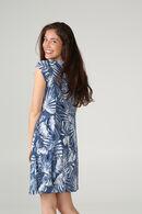 Jurk met palmenprint, Marineblauw