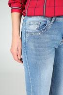 Smalle broek met strassteentjes., Denim