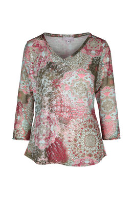 T-shirt imprimé de rosaces, Rose