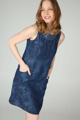 Mouwloze jurk in lyocell met geometrische en bloemenprint, Denim