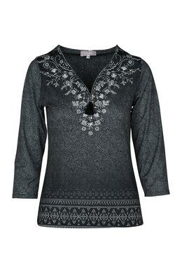 T-shirt in bedrukt koel tricot, Antraciet