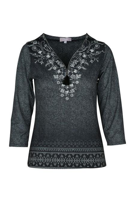 T-shirt in bedrukt koel tricot - Antraciet