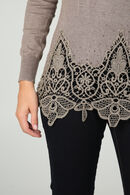 Pull tunique dentelle et strass, Taupe