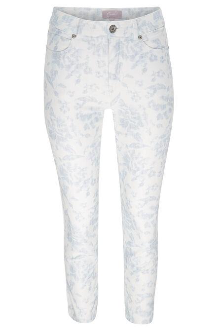 Pantalon imprimé fleuri 7/8ème - Bleu