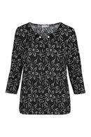 T-shirt imprimé fleurs en gomme, Noir/Ecru
