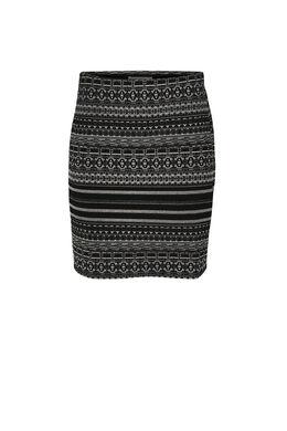 Bedrukte rok, Zwart/zilver