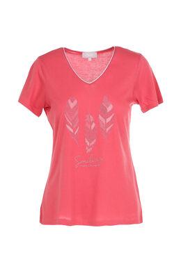 T-shirt imprimé 3 plumes, Framboise