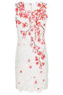 Robe macramé et imprimé fleurs de cerisier, Rose
