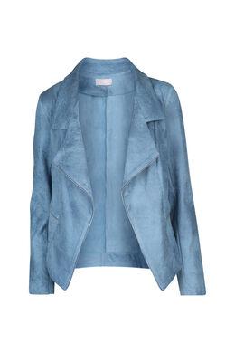 Open jasje met suèdinelook, Lichtblauw