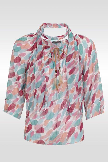 Tuniekhemd met bijpassende sjaal - Appelblauwzeegroen