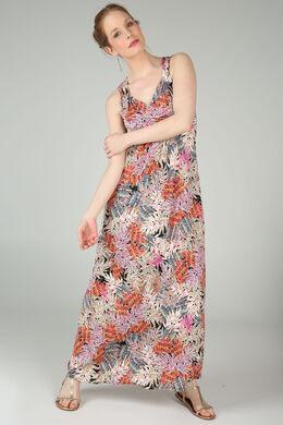Lange jurk met gomprint van bladeren, Roze