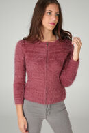 Cardigan maille poilue, Rose fonce