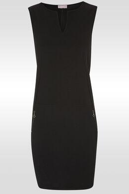 Robe droite détail de zips, Noir