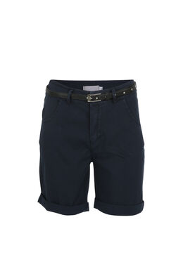 Short en coton avec une ceinture, Marine