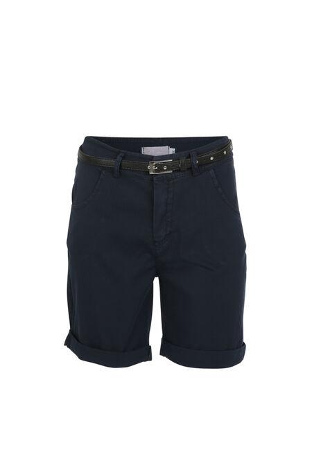 Short en coton avec une ceinture - Marine