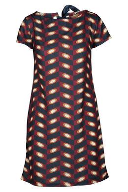 Rechte jurk met print, Wijnrood