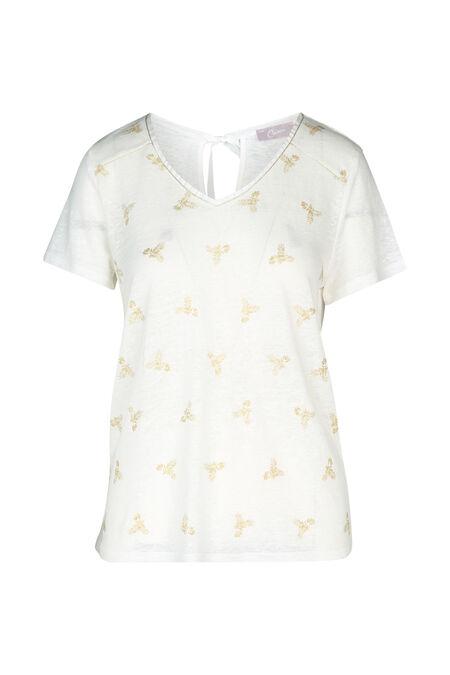 T-shirt à dessins plumes - Ecru