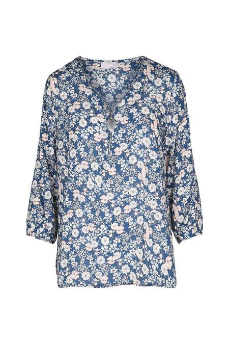 Tuniek met bloemenprint - Blauw