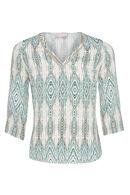 Soepele bloes met Azteekse print, Appelblauwzeegroen