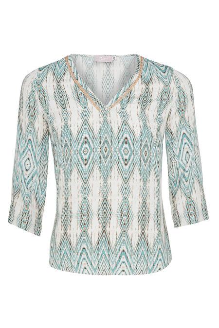 Soepele bloes met Azteekse print - Appelblauwzeegroen