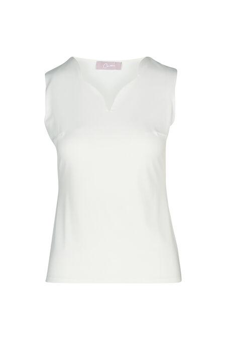 T-shirt sans manches en crèpe uni - Ecru