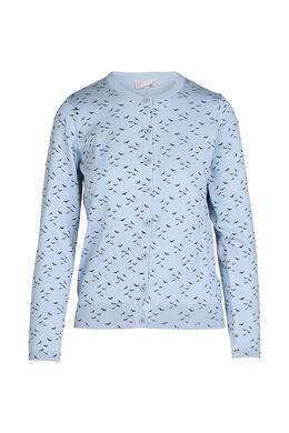 Cardigan in tricot met vogelprint, Lichtblauw