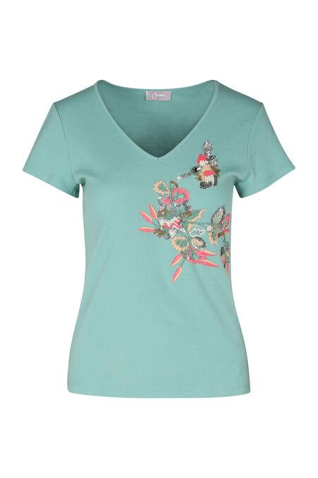 Katoenen T-shirt met borduurwerk - Appelblauwzeegroen