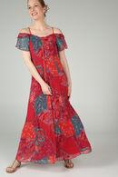 Lange jurk met rijglinten aan de hals, Rood