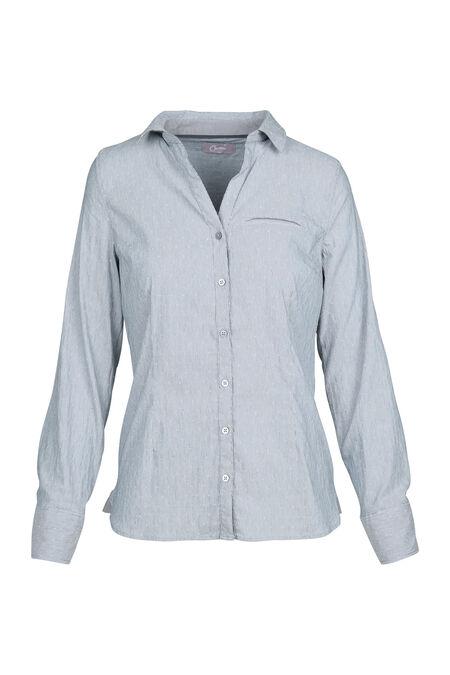 Gestreept hemd met reliëfborduurwerk - Grijs