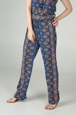 Soepele broek met wasprint, Koningsblauw