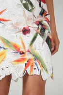 Kanten jurk met exotische bloemenprint, Multicolor