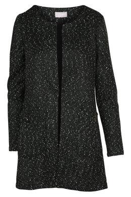 Blokvormig jasje met print, Zwart/Ecru