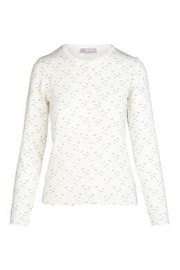 Cardigan in tricot met vogelprint, Ecru