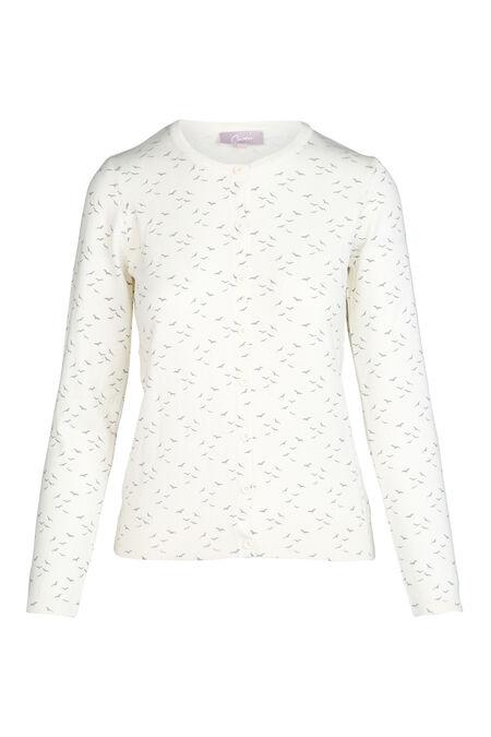 Cardigan in tricot met vogelprint - Ecru