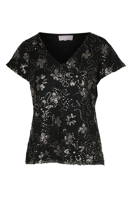 T-shirt en résille brodée - Or