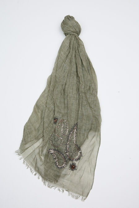 Grand foulard en coton lavé+ broderie - Kaki