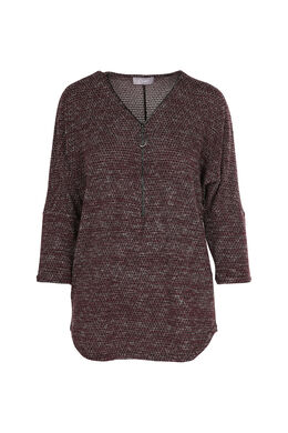 T-shirt in warm tricot met lurex, Bordeaux