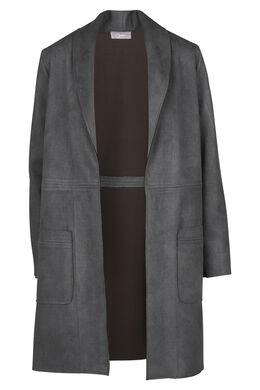 Lange jas in suèdine effect, Grijs