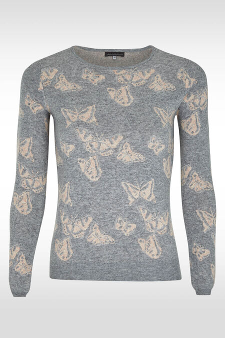 Vlindertrui met lurex - Parelgrijs