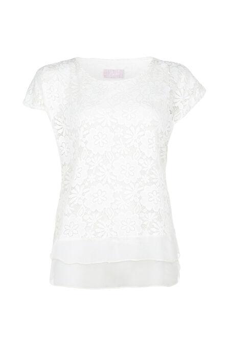 T-shirt broderie fleurie - Ecru