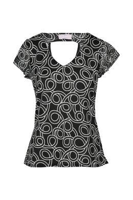 T-shirt imprimé manches volantées, Noir/Ecru